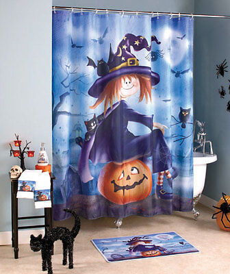 Halloween Witch Bathroom Ensemble Shower Curtain Rug Guest Towels Soap Pump](Halloween Soap Pump)