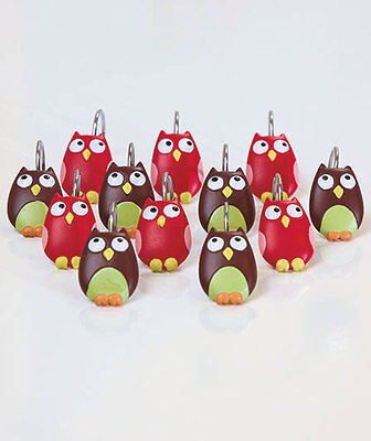 PERCHING OWL SHOWER CURTAIN HOOKS ~SET OF12~ COLORFUL & EXPRESSIVE ~ NEW IN BOX