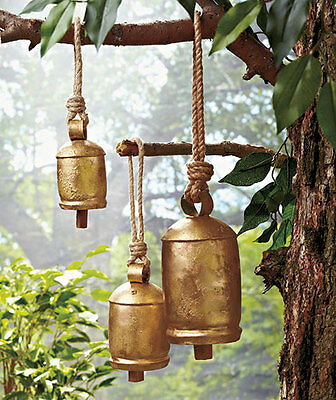 Set of 3 Large Tranquil Sounding Harmony Iron Bells Wind Chime Relaxing Garden
