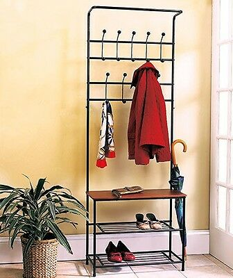 Metal Entryway Bench Coat Rack Seat Hat Shoe Organizer Shelf Storage Home Decor