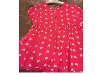 Mamas papa pink heart blouse 0-3