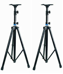 Pair-Heavy-Duty-Tripod-DJ-PA-Speaker-Stands-SP-19B-Black