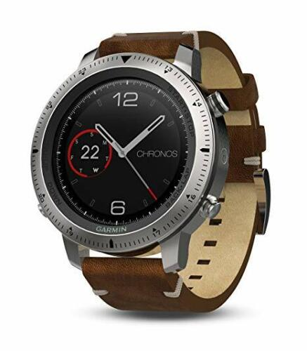Garmin fnix Chronos Smartwatch 49mm Stainless Steel with Leather Band 010-01957-00