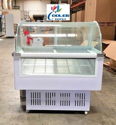 New 46 Popsicle Freezer Ice Cream Display Case Led Lighting Showcase Holds 48