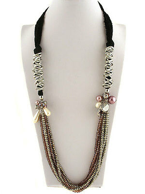 Beauty For Ashes Long Faux Fashion Pearl Charm Esther Crystal Strand Necklace
