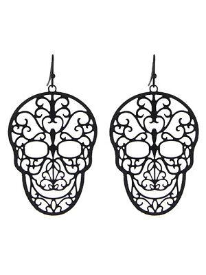 Sugar Skull Earrings (Sugar Skull Day of the Dead Filigree Hematite Tone)