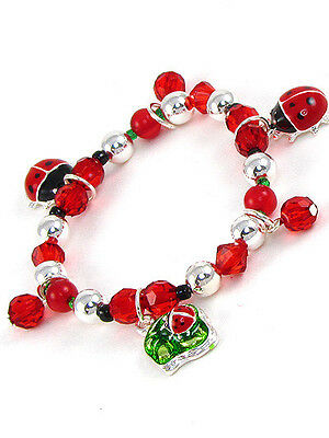Childrens Red Beaded Stretch Bracelet With Ladybug Charms