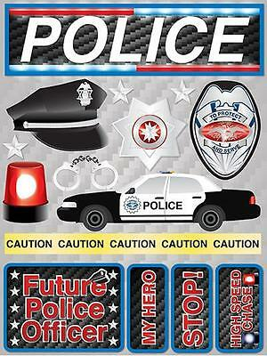 Scrapbooking Crafts Stickers 3D Police Badge Car Caution Tape Siren Hero Cuffs - Police Caution Tape