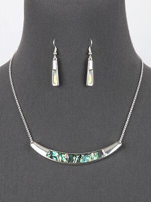Abalone Shell Necklace Earrings Silver Tone Women Fashion Jewelry Set