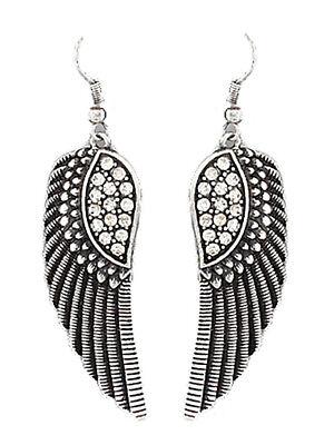 - Angel Wing Silver Tone Rhinestone Earrings Dangle Drop Women New Fashion Jewelry