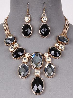 - Gold Tone Black Rhinestone Glass Stone Bib Necklace Earrings Fashion Jewelry Set
