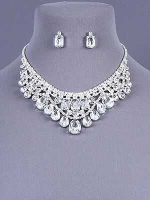 Crystal Clear Bib Necklace Set Earring Prom Pageant Silver Tone Fashion Jewelry