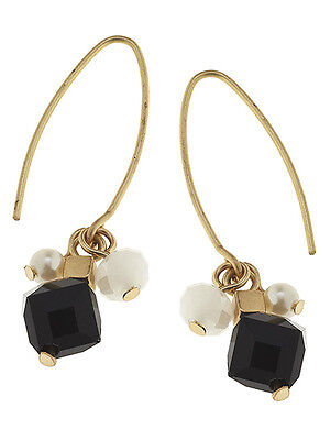 Black Glass Bead Cluster Dangle Drop Gold Tone Hook Wire Fashion Earrings