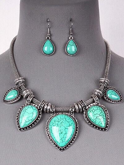 Turquoise Teardrop Statement Bib Necklace Earrings Set