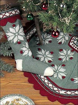 Christmas Scandinavian Snowflake Tree Skirt and Stocking Knitting Pattern Only ()