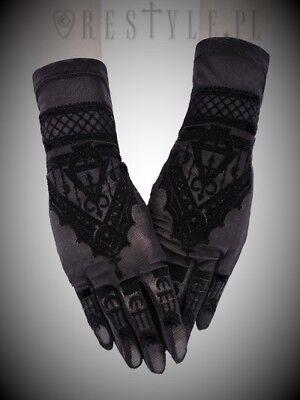 Restyle Luxury Gothic Evening Black Stretch Mesh Mehndi Velvet Gloves for Women