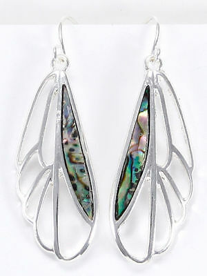 Silver Tone Dragonfly Wings Drop Dangle Abalone Accent Earrings Fashion Jewelry