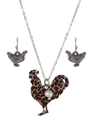 NEW Leopard Print Chicken Farm Animal Pearl Accent Necklace Set