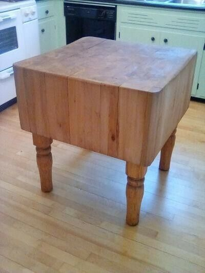 SOLID MAPLE BUTCHER BLOCK  KITCHEN ISLAND