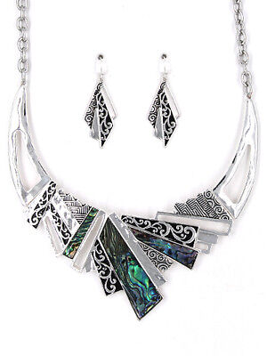 Abalone Shell Jewelry Set (Abalone Shell Filigree Abstract Silver Necklace Earring Set New Fashion Jewelry  )