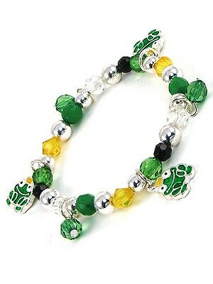 Childrens Green Beaded Stretch Bracelet With Frog Charms