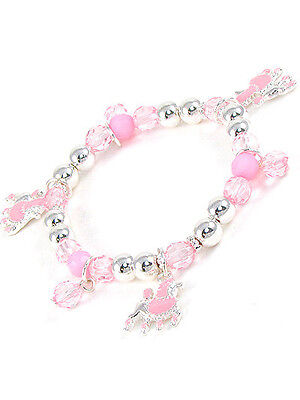 Childrens Pink and Silver Toned Beaded Stretch Bracelet With Poodle Dog Charms