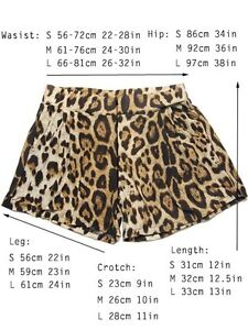 Womens Leopard Animal Print High Waist Shorts Hot Mini Shorts Size L M S