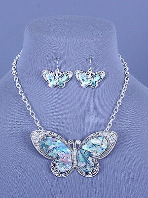NEW Silver Butterfly Abalone Shell Necklace Earrings Crystal Fashion Jewelry Set