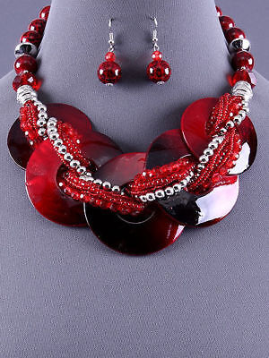 Red Silver Multi Strand Statement Bead Chunky Fashion Jewelry Necklace Set