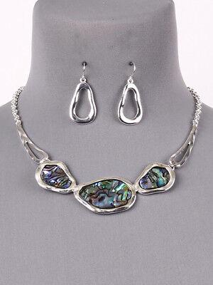 Abalone Shell Jewelry Set (Abalone Shell Statement Silver Tone Necklace Earrings Fashion Jewelry Set )