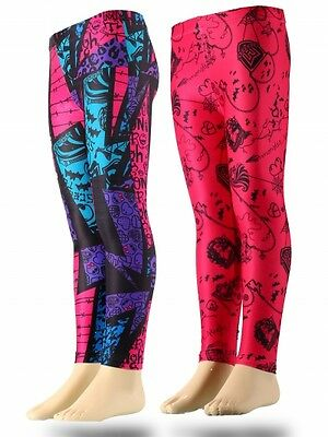 Schwarze Mädchen Sporthose (Neu Mädchen Sporthose Leggings Hose Monster High pink schwarz 116 128 140 152)
