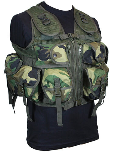 9 POCKET Woodland Camo Tactical Assault VEST Rig Army Military Utility Pouch