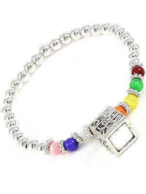Childrens Multicolored Stretch Bracelet With Silver Toned Prayer Box Charm