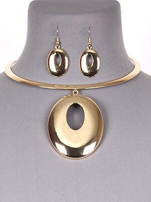 Gold Tone Statement Circle Choker Women Fashion Jewelry Necklace Earring Set