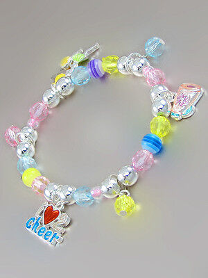 Multi-Colored Beaded Child Stretch Bracelet With Cheerleader Charms