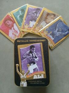 Muhammad Ali Embossed Metal Collector Cards and Collectors Tin