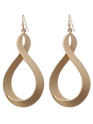 Matte Gold Tone Twisted Dangle Drop Fashion Earrings   Gold Tone Twisted Earrings