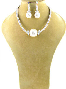 Silver Toned Necklace With White Pearl and Clear Rhinestones W Matching Earring