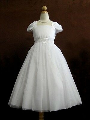 Flower Girl Cap Sleeved Beaded White Dress First Holy Communion Size 2-16 - First Holy Communion Dress