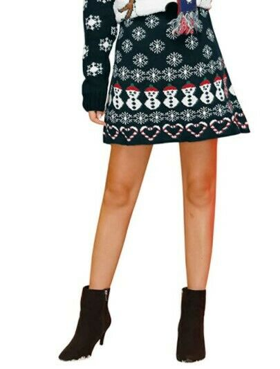 Christmas Women Skirt Snowman Cable Knit Navy Blue Color Sweater Dress Fashion Clothing, Shoes & Accessories