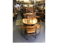 Retro teak extending dining table and chairs vintage g plan Ercol