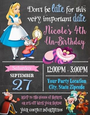 Alice in Wonderland Baby Shower or Birthday Party Invitations Personalized - Personalized Party Invitations