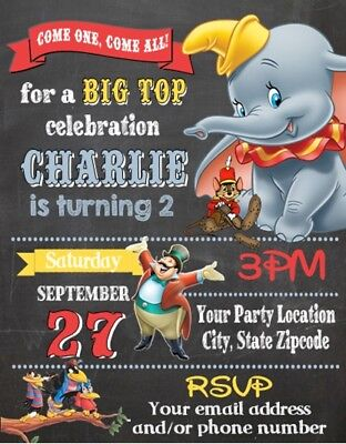 Dumbo Baby Shower or Birthday Party Invitations Invites Personalized Custom - Dumbo Baby Shower