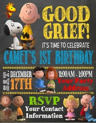 Peanuts Charlie Brown Snoopy Birthday Party Invitations Invites - Charlie Brown Birthday
