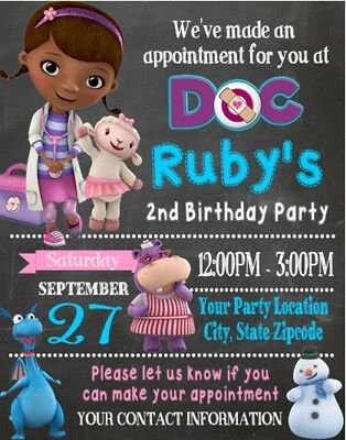 Doc McStuffins Birthday Party Invitations Personalized Custom](Doc Mcstuffins Custom Invitations)