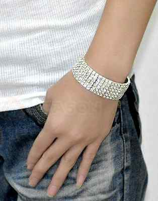 6 Rows Crystal  Clear Rhinestone CZ Silver Plated Bracelet 6.8 Inches