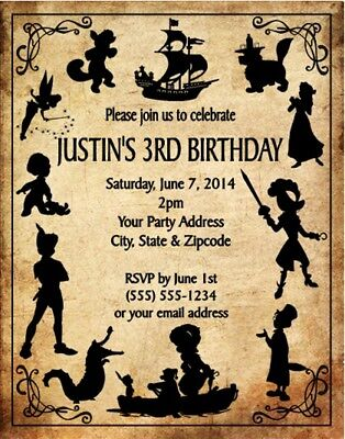 Peter Pan Tinkerbell Birthday Party Invitations Invites Personalized Custom](Tinkerbell Party Invitations)