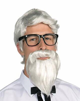 Southern Colonel Wig & Beard Set White Synthetic Hair Costume Character Set Beard Sets Character Wigs