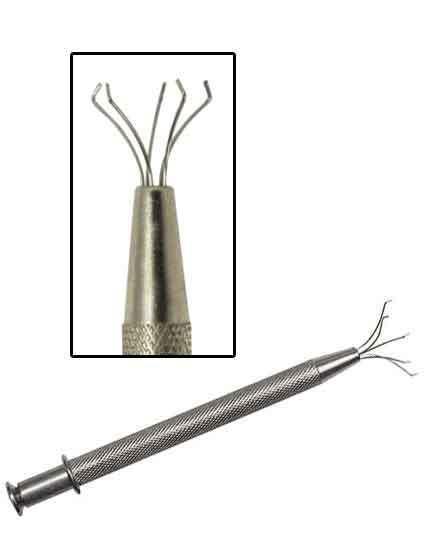5 Prong Diamond Gem Tweezers Parts Beads Jewelry Ball Grabber Pickup Tool Holder