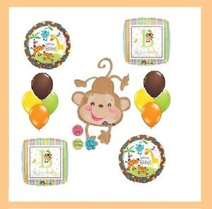 fisher price baby shower monkey jungle safari balloons. Black Bedroom Furniture Sets. Home Design Ideas